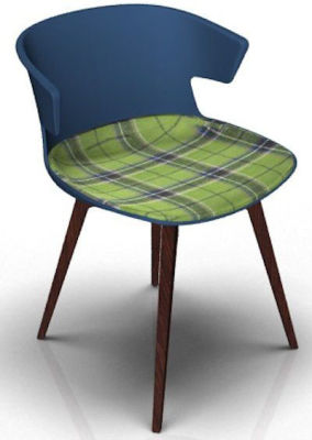 Elegante Chair With Large Seat Pad - Blue And Wenge Tartan Green