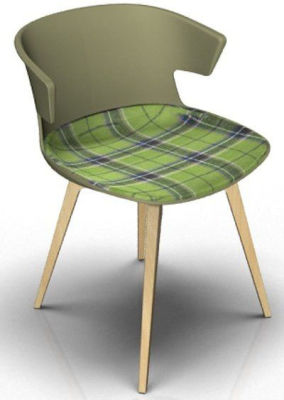 Elegante Chair With Large Seat Pad - Green And Beech Tartan Green