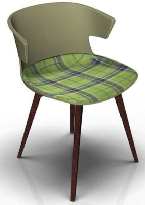 Elegante Chair With Large Seat Pad - Green And Wenge Tartan Green