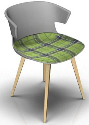 Elegante Chair With Large Seat Pad - Grey And Beech Tartan Green