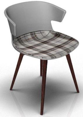 Elegante Chair With Large Seat Pad - Grey And Wenge Tartan Brown