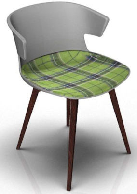 Elegante Chair With Large Seat Pad - Grey And Wenge Tartan Green