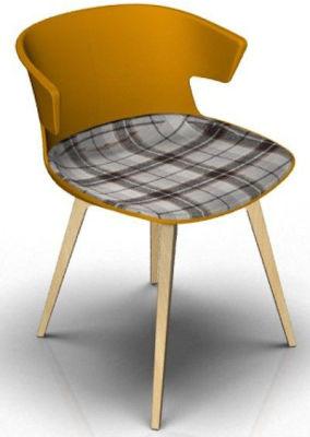 Elegante Chair With Large Seat Pad - Orange And Beech Tartan Grey