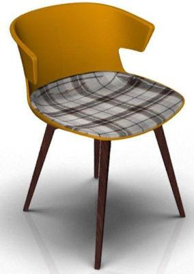 Elegante Chair With Large Seat Pad - Orange And Wenge Tartan Brown