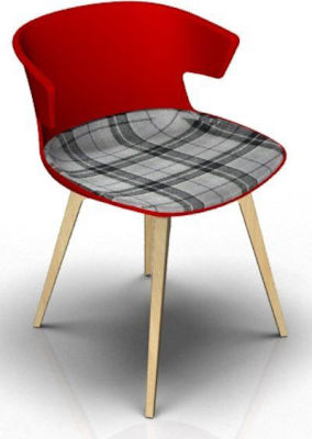 Elegante Chair With Large Seat Pad - Red And Beech Tartan Grey