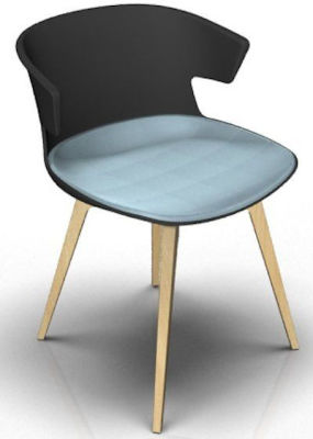 Elegante Designer Chair With Large Seat Pad - Anthracite And Beech Light Blue