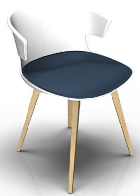 Elegante Designer Chair With Seat Pad - White And Beech Night Blue