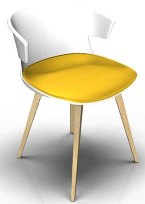 Elegante Designer Chair With Seat Pad - White And Beech Yellow