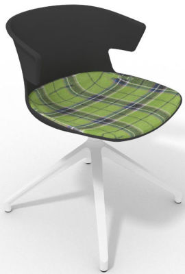 Elegante Spider Base Chair - Anthracite Tartan Green White