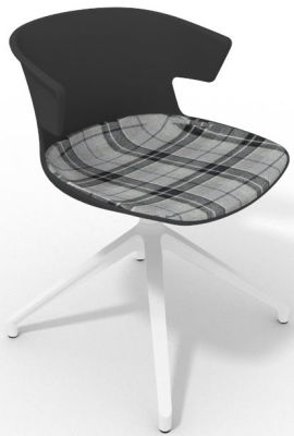 Elegante Spider Base Chair - Anthracite Tartan Grey White