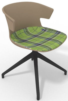 Elegante Spider Base Chair - Beige Tartan Green Shadow Grey