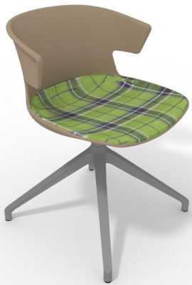 Elegante Spider Base Chair - Beige Tartan Grey Aluminium