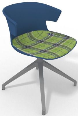 Elegante Spider Base Chair - Blue Tartan Green Aluminium