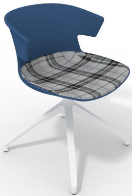Elegante Spider Base Chair - Blue Tartan Grey White