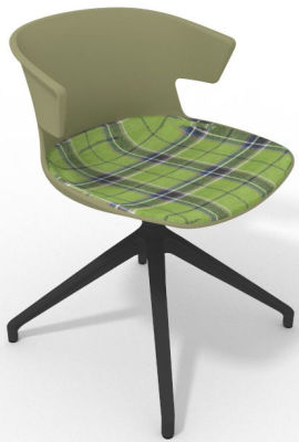 Elegante Spider Base Chair - Green Tartan Green Shadow Grey