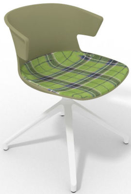 Elegante Spider Base Chair - Green Tartan Green White
