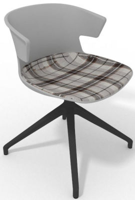 Elegante Spider Base Chair - Grey Tartan Brown Shadow Grey