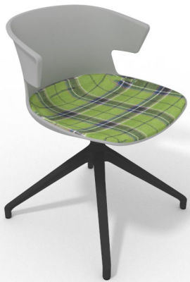 Elegante Spider Base Chair - Grey Tartan Green Shadow Green