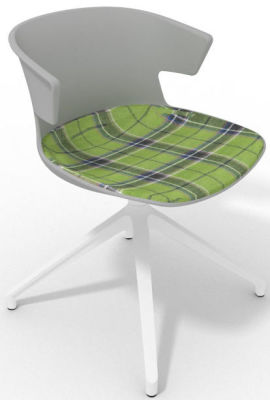 Elegante Spider Base Chair - Grey Tartan Green White