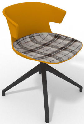 Elegante Spider Base Chair - Ochre Tartan Brown Shadow Grey