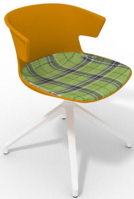 Elegante Spider Base Chair - Ochre Tartan Green White