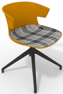 Elegante Spider Base Chair - Ochre Tartan Grey Shadow Greay