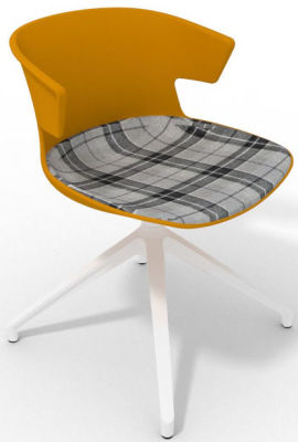 Elegante Spider Base Chair - Ochre Tartan Grey White