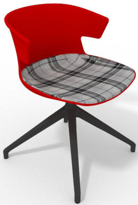Elegante Spider Base Chair - Red Tartan Grey Shadow Grey