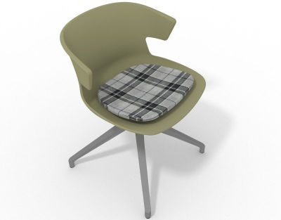 Elegante Spider Base Chair - Green Tartan Grey Aluminium