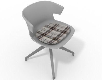Elegante Spider Base Chair - Grey Tartan Brown Aluminium