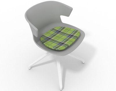 Elegante Spider Base Chair - Grey Tartan Green White