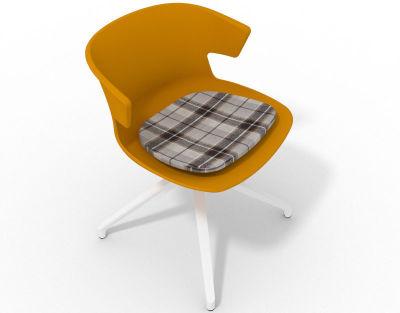 Elegante Spider Base Chair - Ochre Tartan Brown White