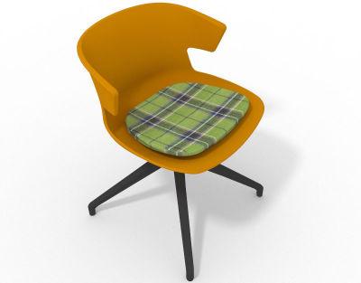 Elegante Spider Base Chair - Ochre Tartan Green Shadow Grey