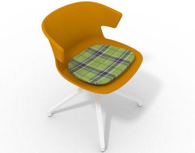 Elegante Spider Base Chair - Ochre Tartan Green White