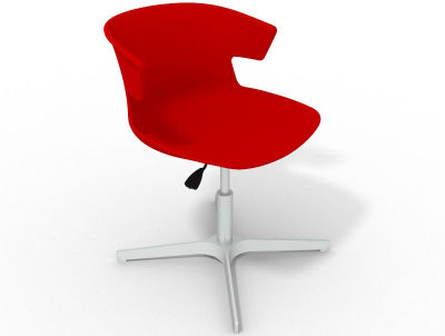 Elegante 4 Star Base Chair - Red Aluminium
