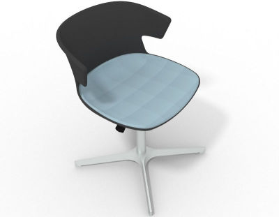 Elegante 4 Star Base Chair - Anthracite Light Blue Aluminium
