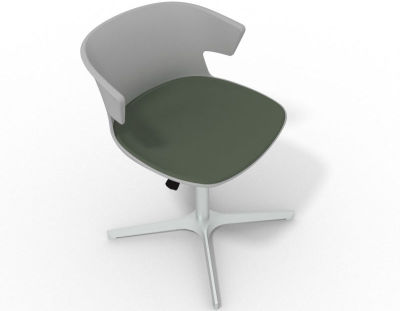 Elegante 4 Star Base Chair - Grey Dark Green Aluminium