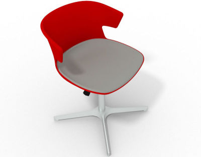 Elegante 4 Star Base Chair - Red Grey Aluminium