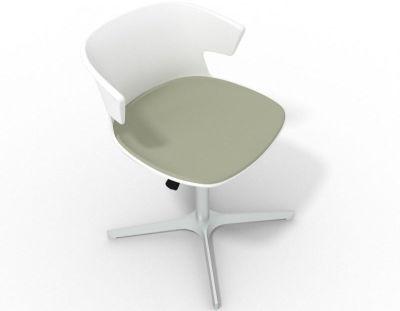 Elegante 4 Star Base Chair - White Grey Olive Aluminium