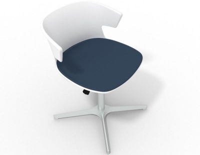 Elegante 4 Star Base Chair - White Night Blue Aluminium