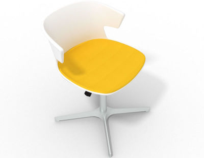Elegante 4 Star Base Chair - White Yellow Aluminium