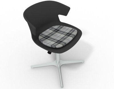 Elegante 4 Star Base Chair - Anthracite Tartan Grey Aluminium