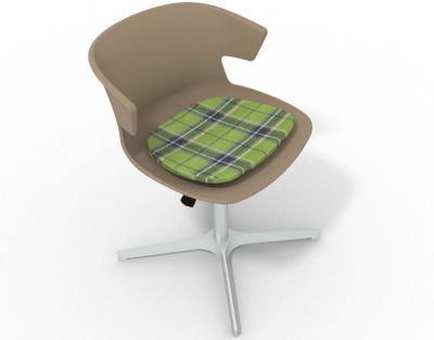 Elegante 4 Star Base Chair - Beige Tartan Green Aluminium