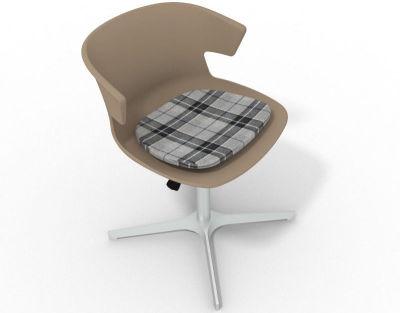 Elegante 4 Star Base Chair - Beige Tartan Grey Aluminium