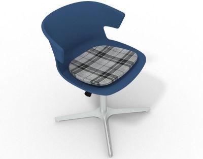 Elegante 4 Star Base Chair - Blue Tartan Grey Aluminium