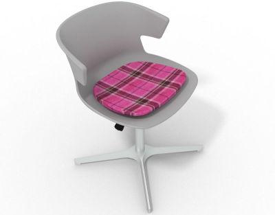 Elegante 4 Star Base Chair - Grey Tartan Pink Aluminium