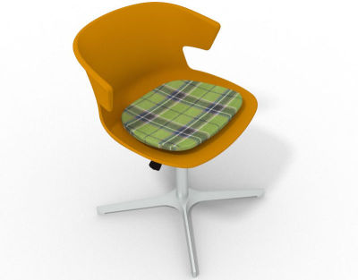 Elegante 4 Star Base Chair - Ochre Tartan Green Aluminium