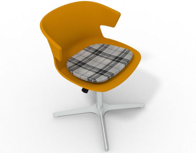 Elegante 4 Star Base Chair - Ochre Tartan Grey Aluminium