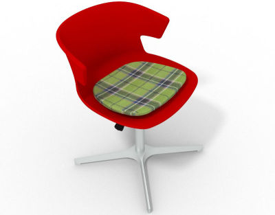 Elegante 4 Star Base Chair - Red Tartan Green Aluminium