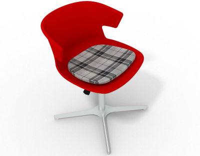 Elegante 4 Star Base Chair - Red Tartan Grey Aluminium